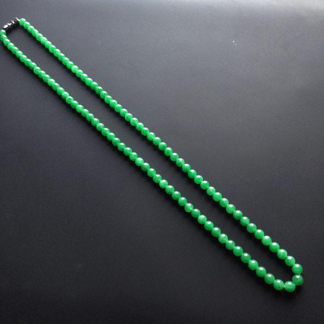 糯冰种阳绿翡翠项链大6mm
