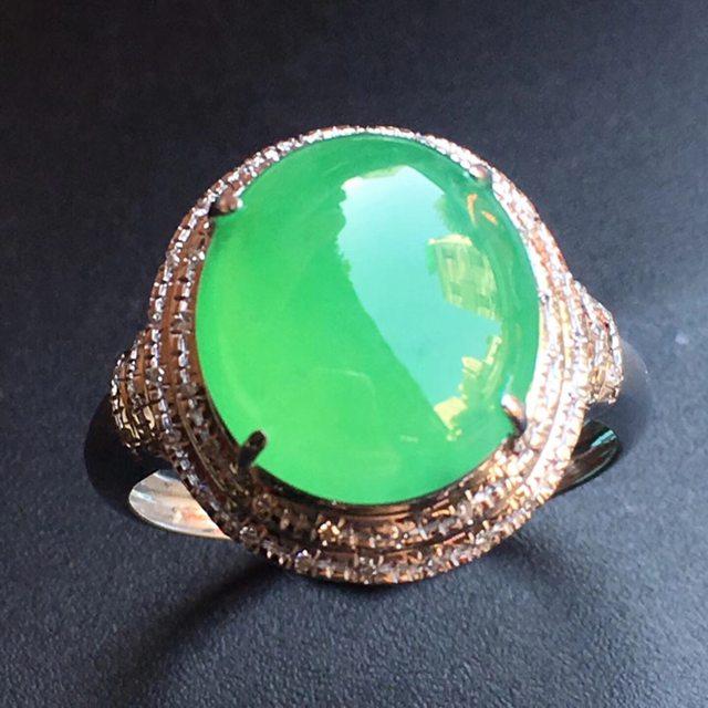 冰种阳绿 缅甸天然翡翠戒指大小11.9*10.6*4mm