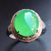 冰種陽綠 緬甸天然翡翠戒指大小11.9*10.6*4mm