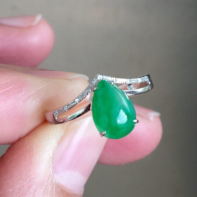 冰种满绿 翡翠戒指
