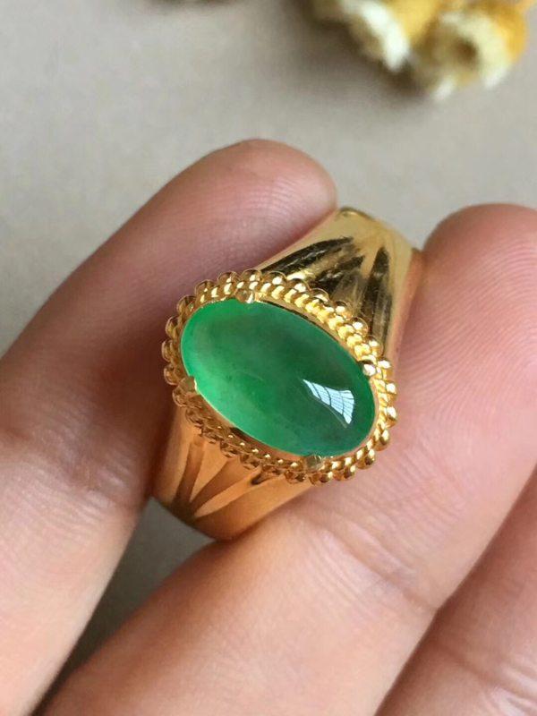 高冰阳绿 缅甸天然翡翠戒指11.6-7-3.3毫米