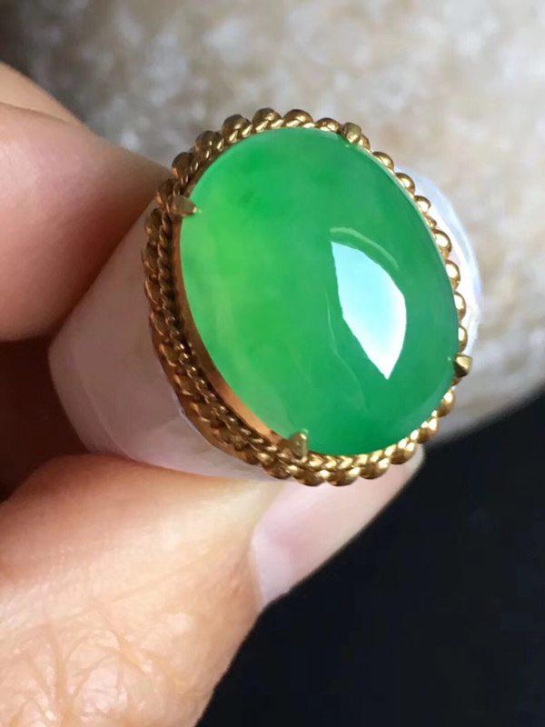 老坑冰种 正阳绿色 缅甸天然翡翠戒指16.4-12.6-6.5mm
