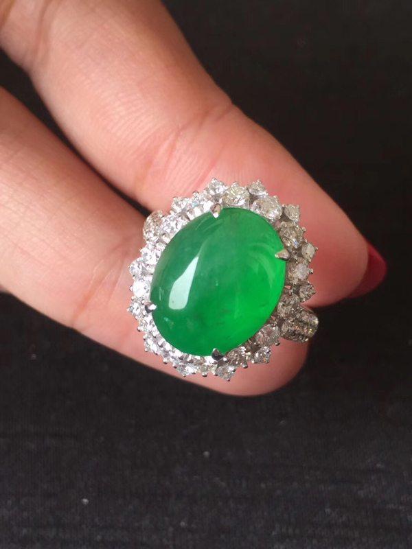 冰种辣色正阳绿木那 缅甸天然翡翠戒指