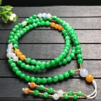 糯冰阳绿珠子翡翠项链5.2*5.2mm