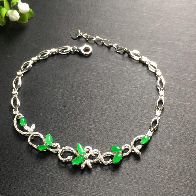 阳绿花形翡翠手链5.8*2.5*3.7mm