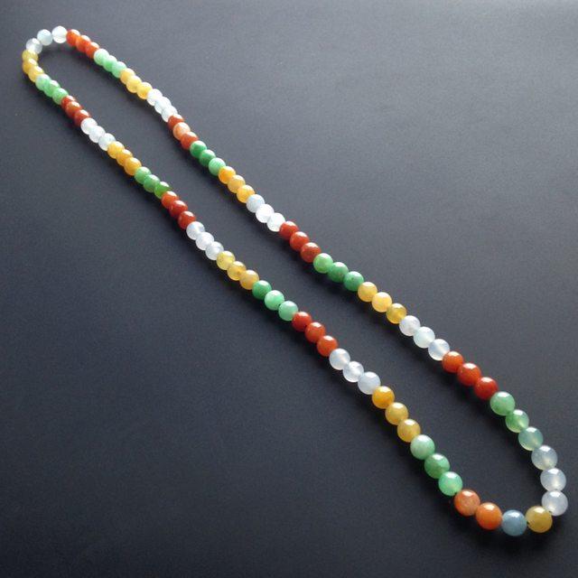 冰种三彩翡翠项链 单颗尺寸5毫米