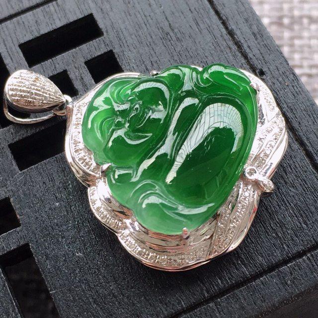 天然翡翠A货 冰糯种满阳绿 裸石尺寸16.6*18.5*3mm