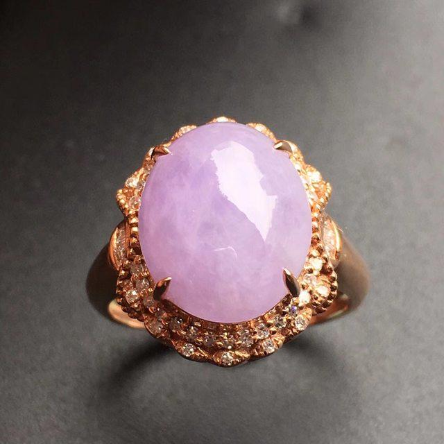 冰种紫罗兰 翡翠戒指大小12.5*10.4*5mm