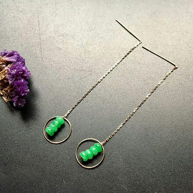 冰种满绿 精美翡翠耳坠1对 颗粒尺寸 5-3mm