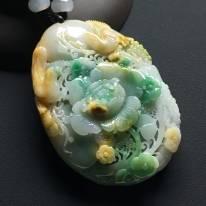 巧雕黄加绿鸟语花香 尺寸:62-44-14毫米
