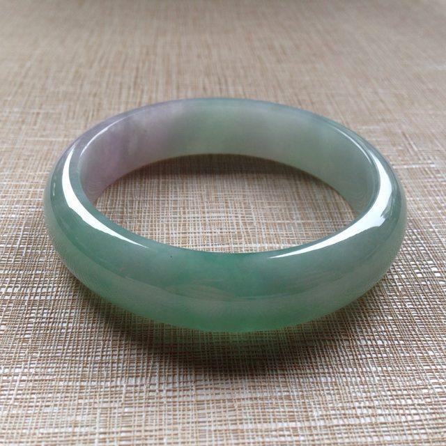 冰糯春彩翡翠平安镯:56.6-14.3-7.5mm