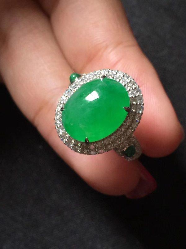 大颗冰种正阳绿 缅甸天然翡翠戒指