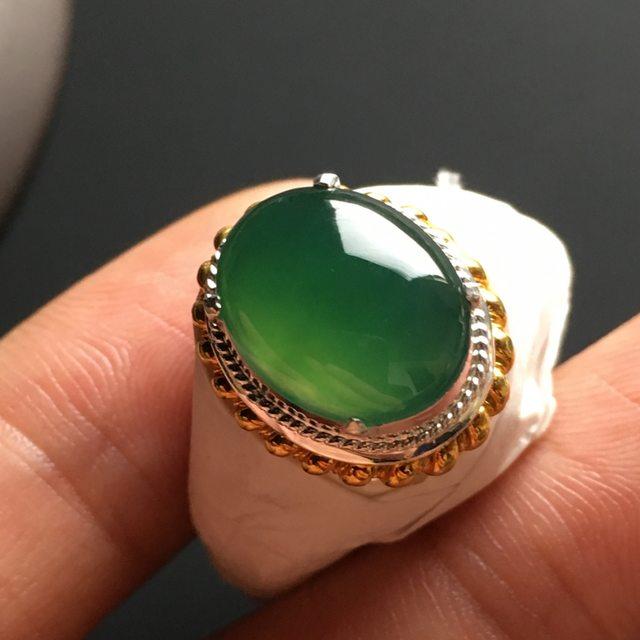 13-10.5-5毫米冰种蓝水 缅甸天然翡翠戒指