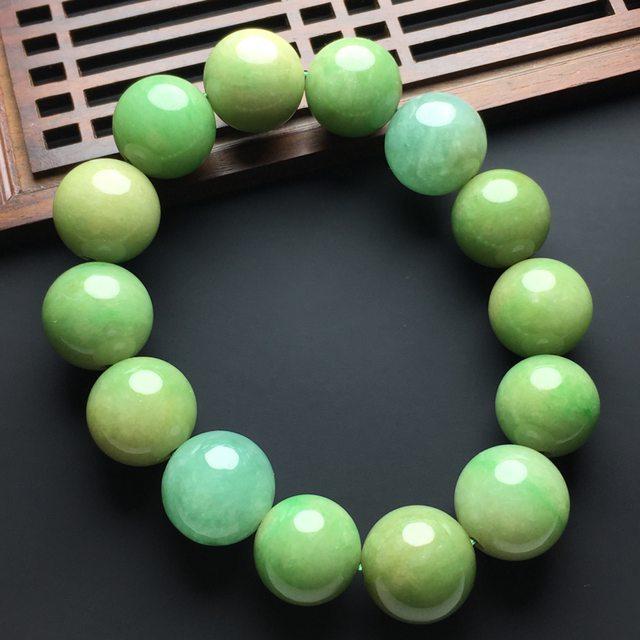 糯化种黄加绿双色翡翠佛珠手串
