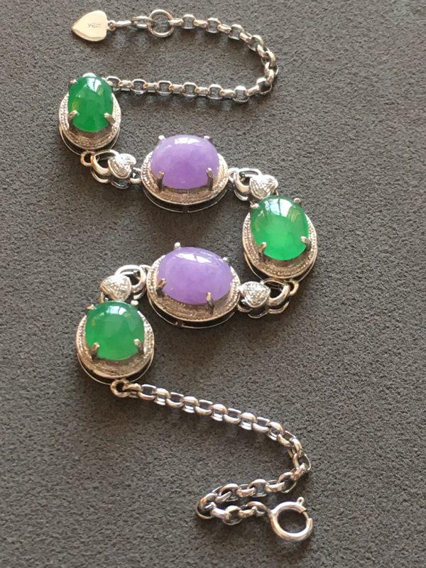 冰种紫加绿 天然翡翠手链图4