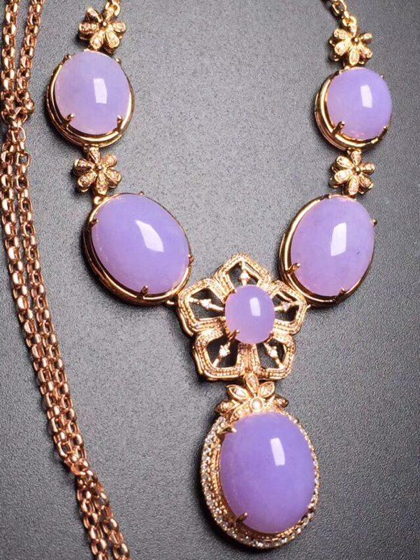 真金真钻镶嵌 冰种紫罗兰蛋面晚装链