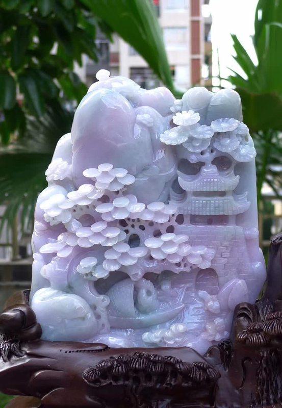 400.450.150寸冰糯紫气东来山水翡翠摆件图3