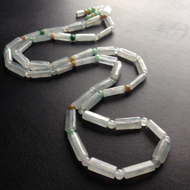 糯冰种路路通天然翡翠项链 38颗 单颗尺寸17-6-5毫米图3