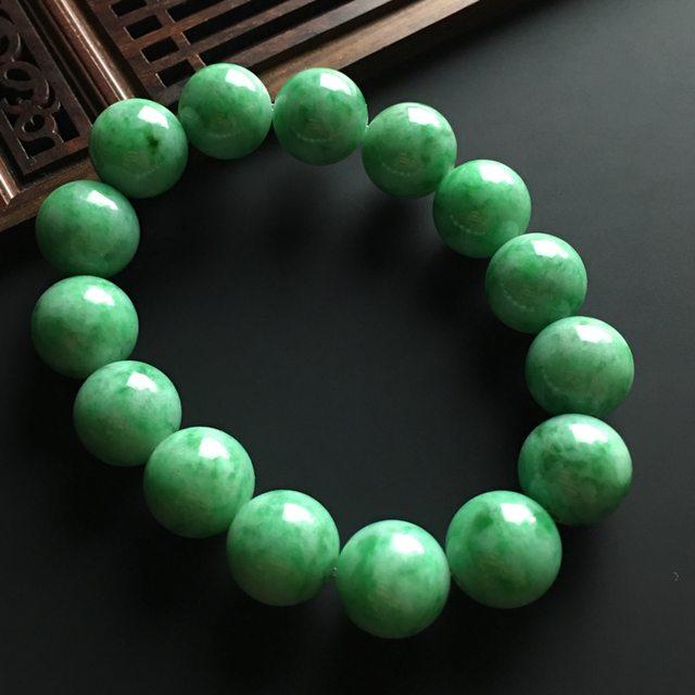 糯种满色佛珠翡翠手链 直径16mm