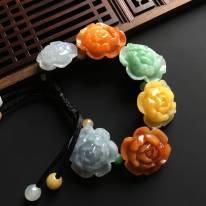 多彩花开富贵天然翡翠手链 单个尺寸27-28-11毫米