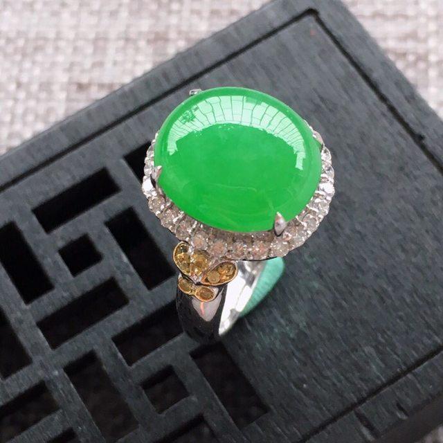 翡翠A货 冰糯种满阳绿圆形翡翠戒指