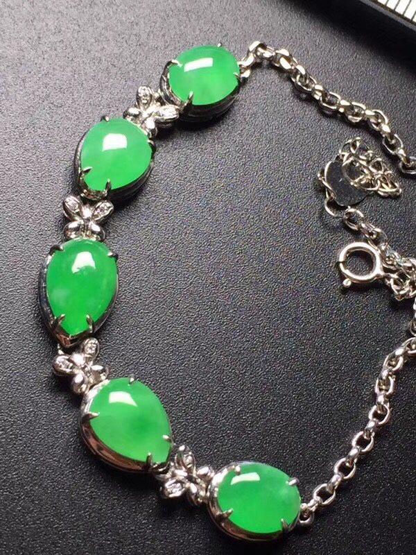 阳绿冰种蛋面镶嵌翡翠手链