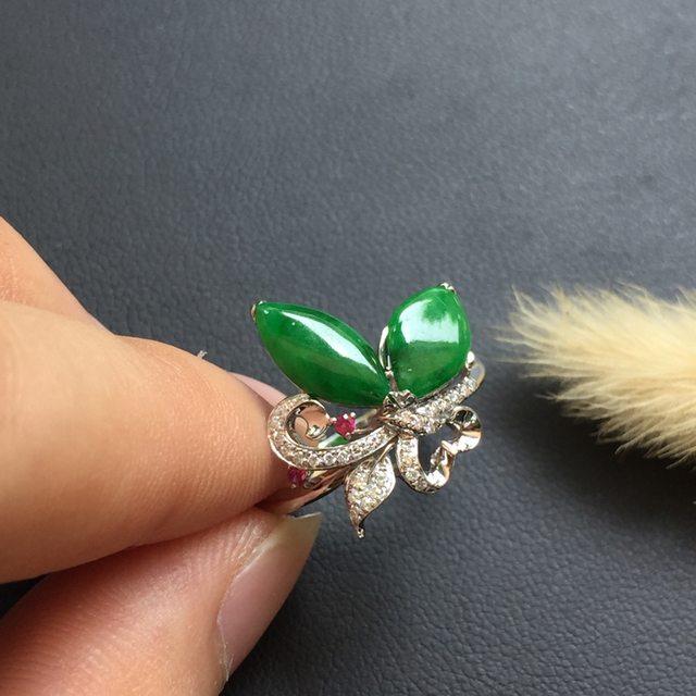 冰糯种满绿 创意 翡翠戒指