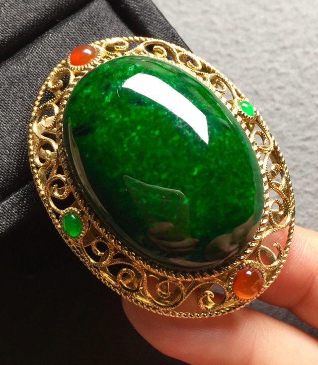 冰糯种浓绿 缅甸天然翡翠戒指