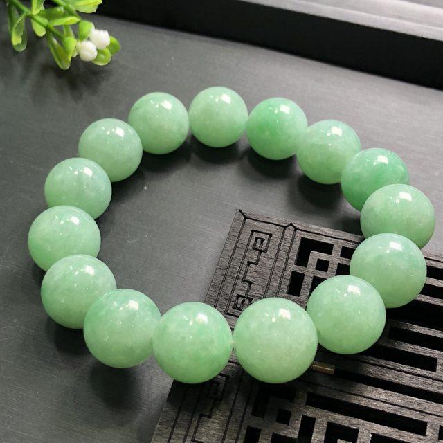 糯冰果绿14厘翡翠手珠