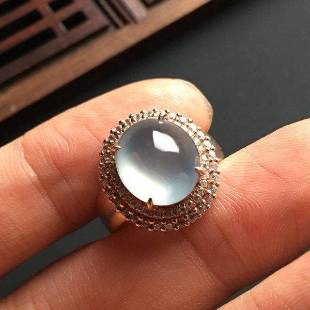 12-10-5寸白冰晴水 缅甸天然翡翠戒指