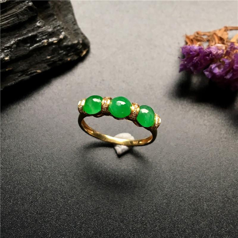 细糯种满绿 天然翡翠戒指