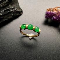 細糯種滿綠 天然翡翠戒指
