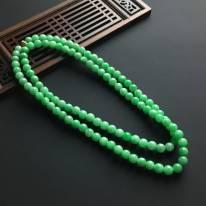 阳绿佛珠翡翠项链 单颗直径7毫米