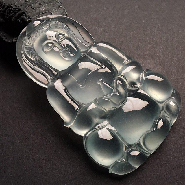 高冰种观音 翡翠挂件 尺寸: 74.5-48-9.5mm