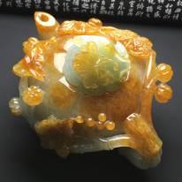 133-98-54寸糯化种黄翡茶壶翡翠摆件