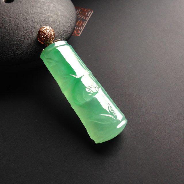 冰种绿底 缅甸天然竹节翡翠挂件 18K金扣 尺寸35-12-7毫米