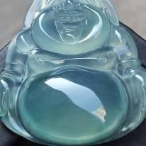 冰种蓝水翡翠吊坠大佛公  尺寸33.4*31.5*7.2
