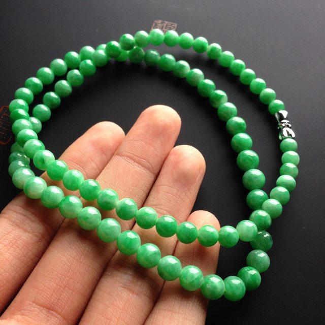 糯冰种阳绿 天然翡翠项链大7毫米