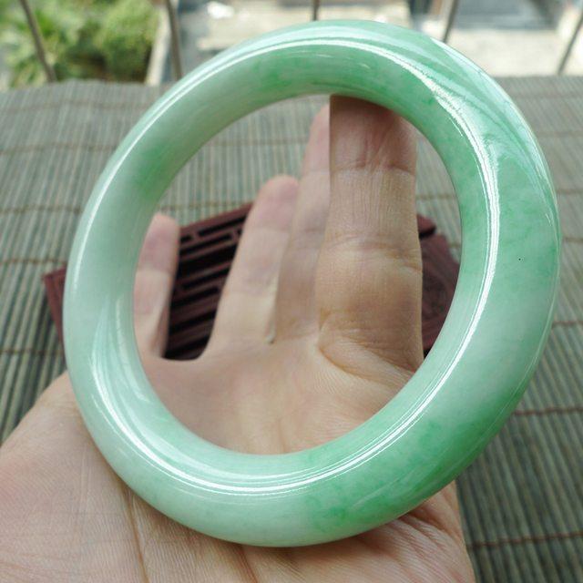 糯种满绿圆条57圈翡翠手镯图1