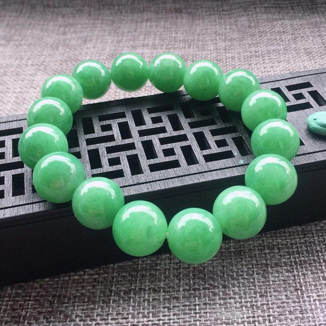 冰糯种满绿翡翠圆珠手链