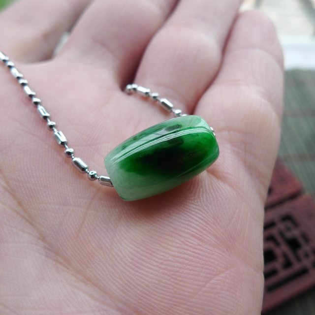 冰种满绿翡翠吊坠 路路通翡翠吊坠  尺寸14.8-9.1mm