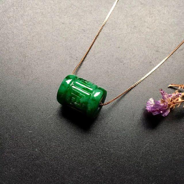 糯冰种飘绿转运珠翡翠吊坠  尺寸: 15.5-12.5mm