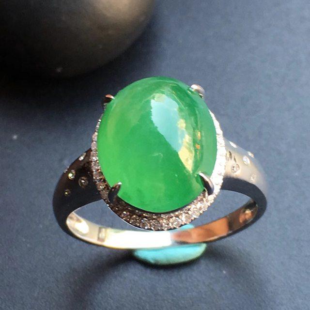 冰种阳绿 翡翠戒指大小12*9.9*6mm