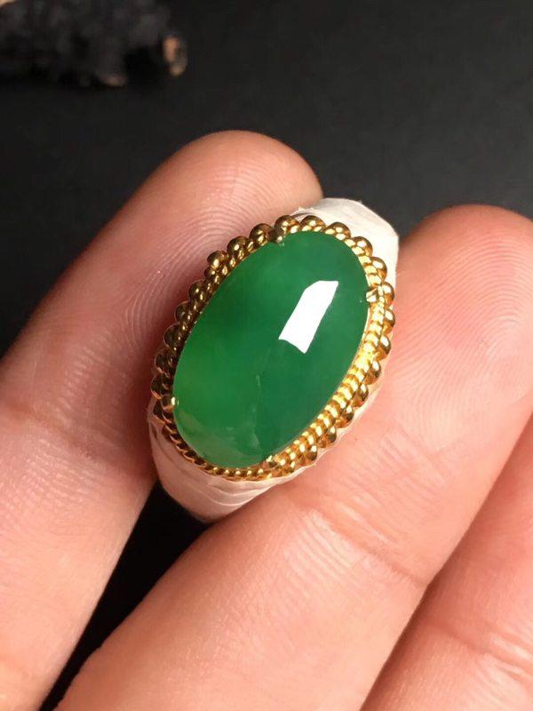 冰种满绿马鞍 缅甸天然翡翠戒指 16-9.8-4.5毫米