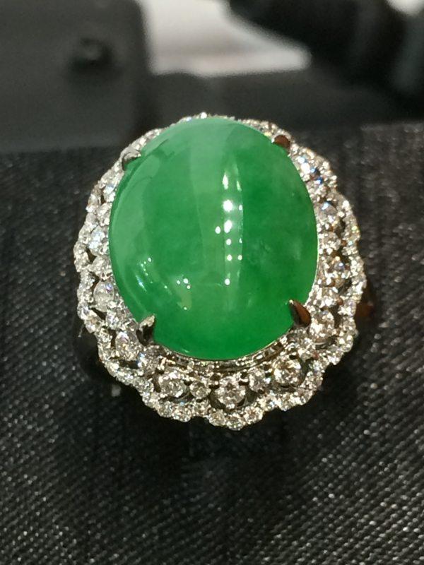 冰绿大旦面 缅甸天然翡翠戒指