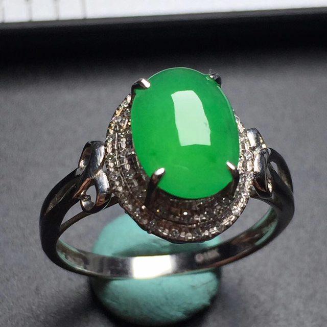 冰种阳绿蛋面戒指 真金真钻镶嵌 完美