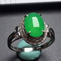 冰種陽綠蛋面戒指 真金真鉆鑲嵌 完美