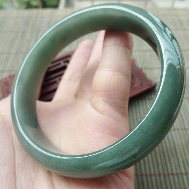 冰油满绿翡翠手镯 缅甸天然翡翠正装手镯  尺寸59.1-13.9-7.1mm