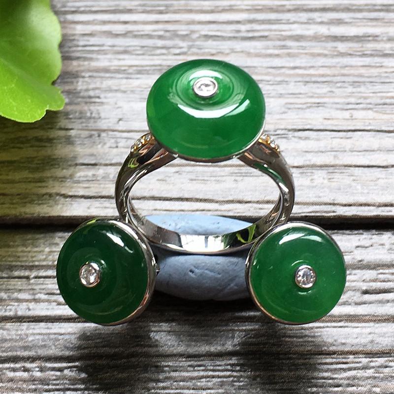 冰种满绿平安扣金镶钻 天然翡翠戒指耳环套装