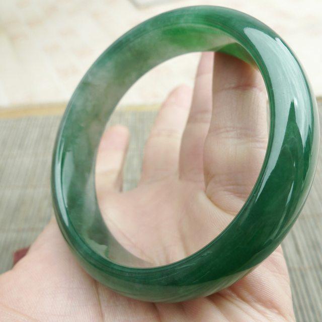 老种水润满绿翠绿宽边厚装 59圈手镯